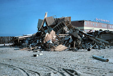 A collapsed beach house